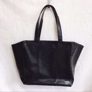 Neiman Marcus Black Pattern Large Tote Bag